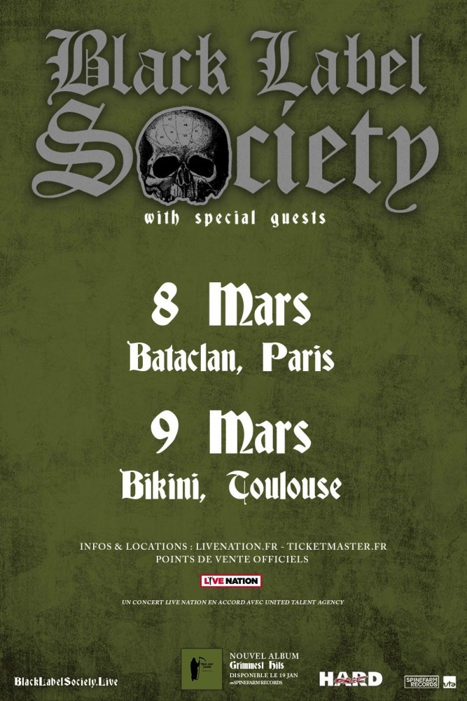 BLACK LABEL SOCIETY : 2 concerts en France prochainement!