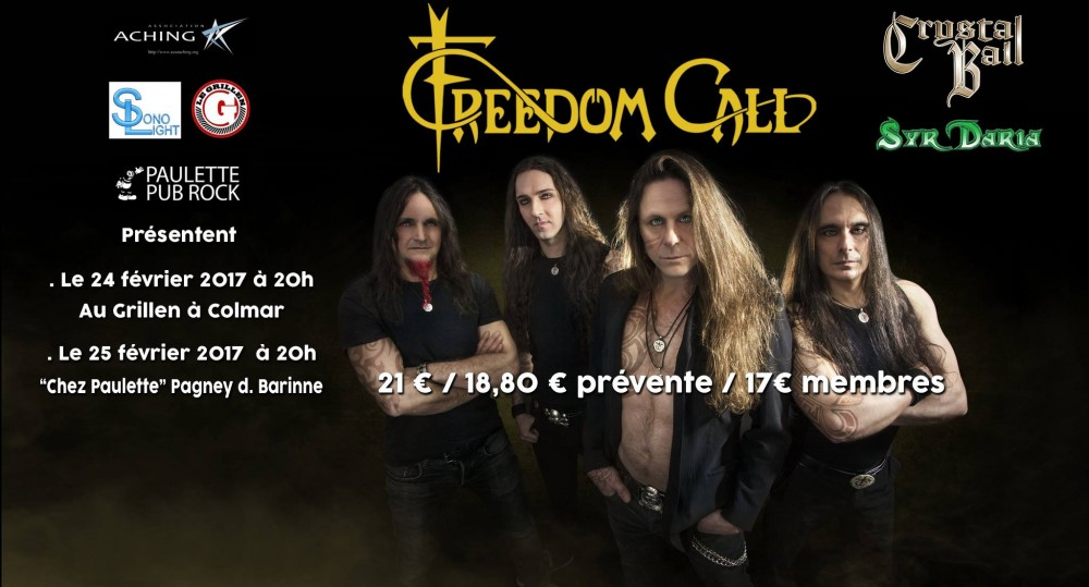 FREEDOM CALL en concert le 24 et 25 février + guests SYR DARIA & CRYSTAL BALL!