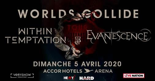 ** EVANESCENCE & WITHIN TEMPTATION en concert à l'AccorHotels Arena dimanche 5 avril 2020 **!!!