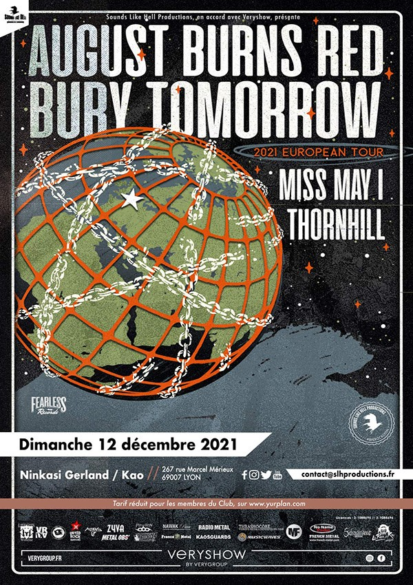 AUGUST BURNS RED, BURY TOMORROW, MISS MAY I et THORNHILL  @ Ninkasi Gerland / Kao - Lyon le Dimanche 12 décembre 2021 !