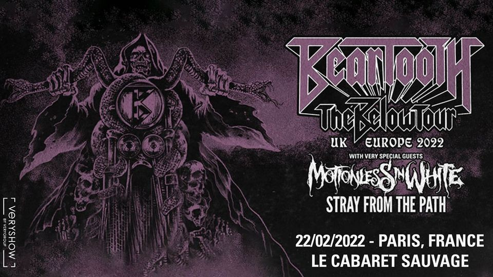 Beartooth + Motionless In White + Stray From The Path à Paris le 22/02/2022