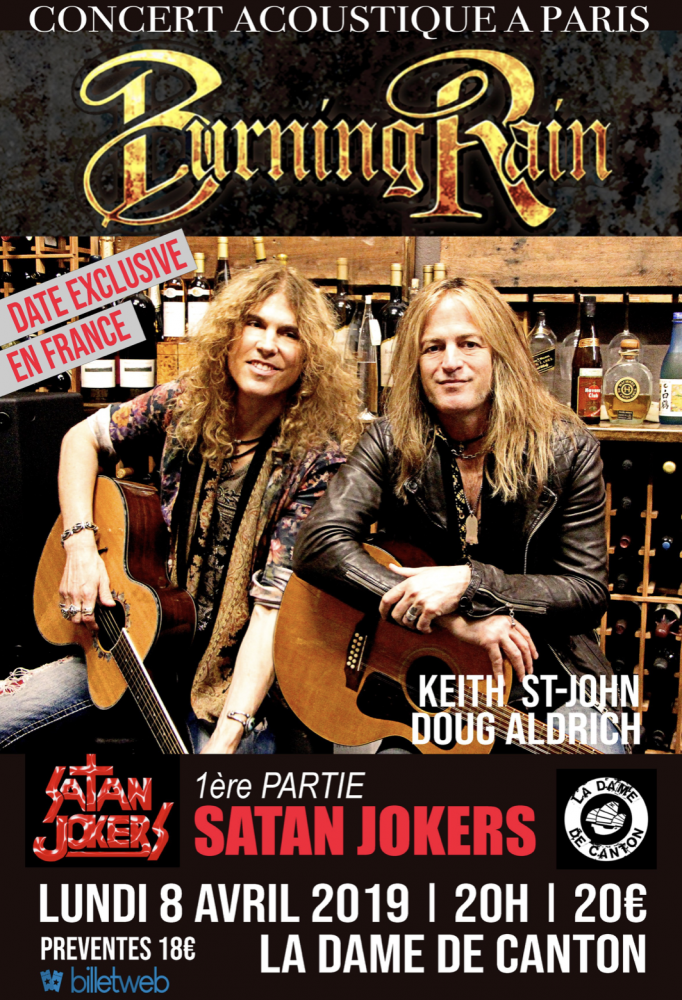 Concert accoustique . Unique date en France pour Burning Rain (Doug Aldrich) ! Satan Jokers sera de la partie