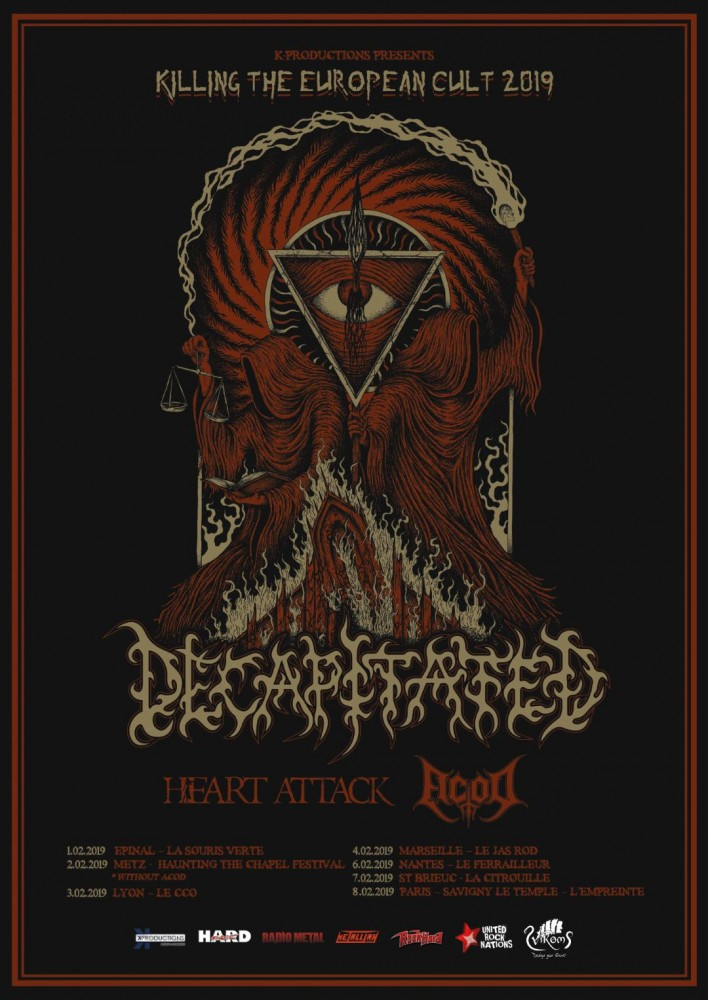 Decapitated Tour, c'est parti!!! Le ''Killing The European Cult 2019'' avec en spécial guests Heart Attack et  AcoD!