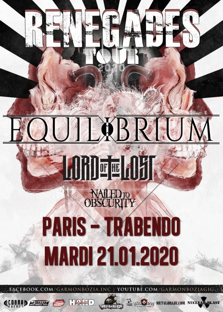 Equilibrium, Lord Of The Lost, Nailed To Obscurity au Trabendo le 21/01/2020
