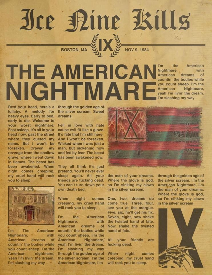 ICE NINE KILLS : sortie de la vidéo ''The American Nightmare'' !