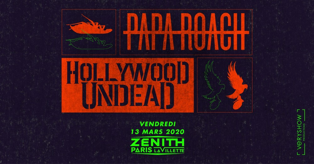 Papa Roach + Hollywood Undead • Paris le 13 Mars 2020