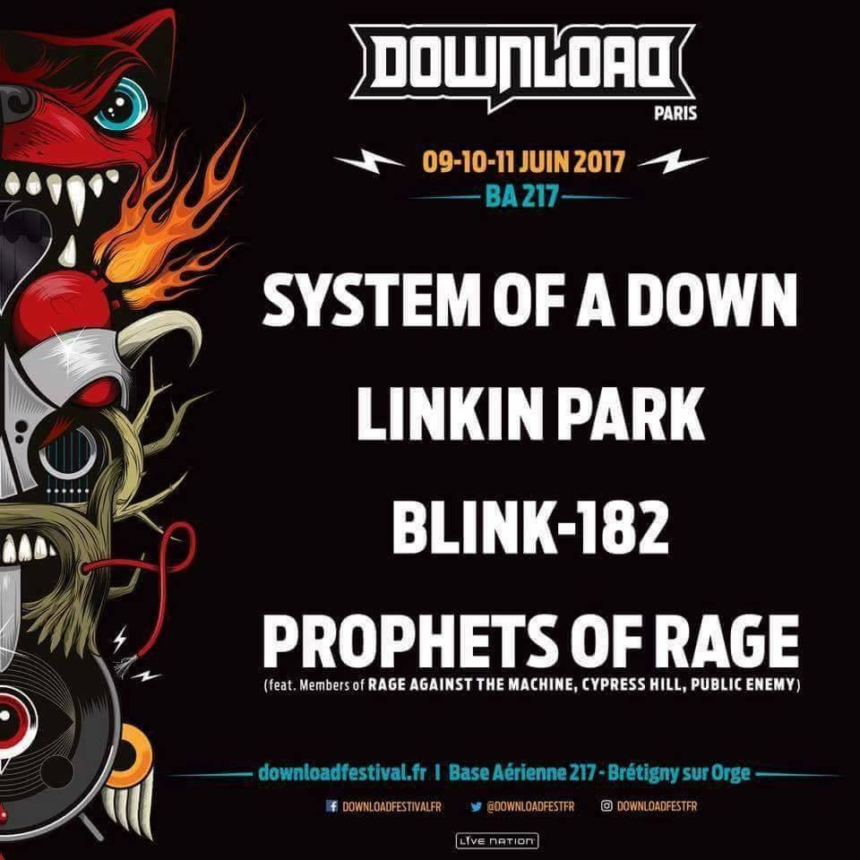 SYSTEM OF A DOWN, LINKIN PARK, BLINK 182 et PROPHETS OF RAGE confirmés au Download !