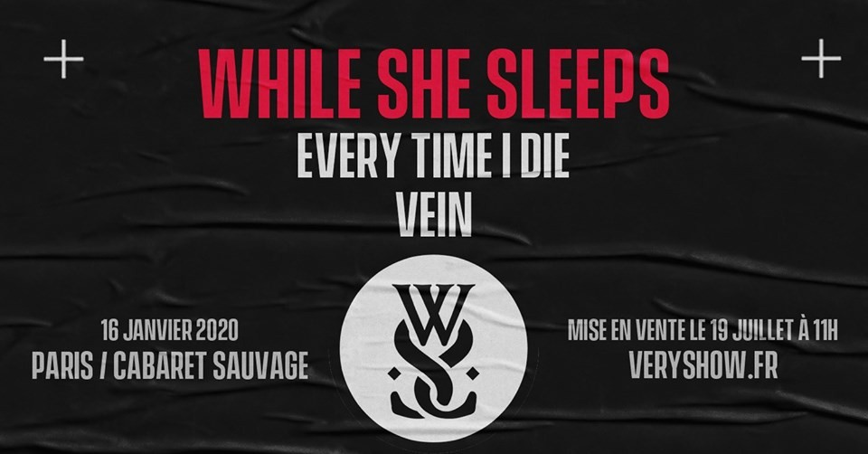 Retrouvez While She Sleeps au Cabaret Sauvage le 16/01/2020